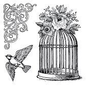 Гумени печати - Клетка за птици - Размер 10 х 10 cm -