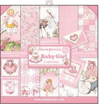 Хартии за скрапбукинг - Момиченце - Комплект от 10 броя с размери 30.5 x 30.5 cm