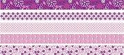 Декоративно мини тиксо - Розови флорални мотиви - Комплект от 5 броя и диспенсър