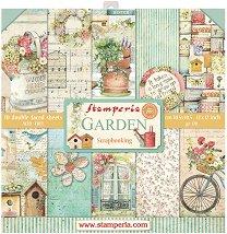 Хартии за скрапбукинг - Градина - Комплект от 10 броя с размери 30.5 x 30.5 cm