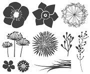 Гумени печати - Цветя - Комплект от 10 броя