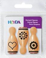 Гумени печати - Сърце и цветя - Комплект от 3 броя -