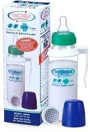 Бебешкo шише за хранене с дръжка - 240 ml - Комплект със силиконов биберон за бебета над 6 месеца -