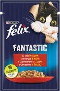 Felix Fantastic with Beef in Jelly - Говеждо месо в желе за котки в зряла възраст - пауч 100 g -