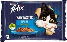 Felix Fantastic with Salmon and Plaice in Jelly - Два вида риба в желе за котки в зряла възраст - опаковка от 4 пауча x 100 g - продукт