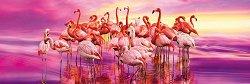 Танцуващи фламинги - панорама - пъзел