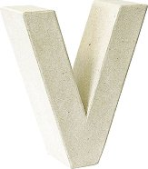 Буква от папиемаше - V - Предмет за декориране с височина 17.5 cm