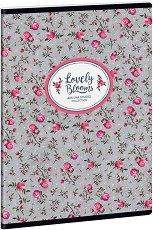 Ученическа тетрадка - Pink Roses : Формат А5 с широки редове - 40 листа -
