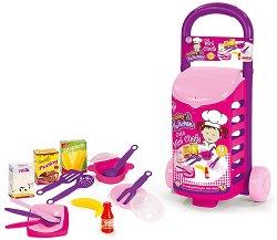 Детски кухненски съдове в количка - Комплект от 18 части - продукт