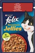 Felix Sensations Jellies with Beef and Tomatoes - Говеждо месо и домати в желе за котки в зряла възраст - пауч 100 g -