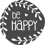 Гумен печат - Be Happy - Диаметър 3.2 cm
