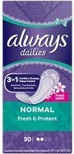 Always Dailie Fresh & Protect Normal - Ароматизирани ежедневни дамски превръзки в опаковки от 30 ÷ 58 броя - дамски превръзки