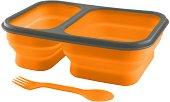 Сгъваема силиконова кутия за храна - С комбиниран прибор за хранене