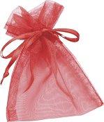 Торбичка за подарък от органза - светло червена
