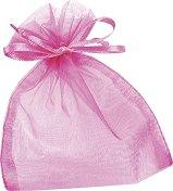 Торбичка за подарък от органза - розова