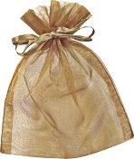 Торбичка за подарък от органза - цвят сепия
