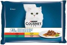 Gourmet Perle Mini Fillets in Gravy - Грил в сос грейви за котки в зряла възраст - опаковка от 4 пауча x 85 g -