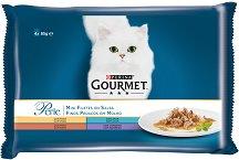 Gourmet Perle Mini Fillets in Sauce - Месни и рибни филета в сос за котки в зряла възраст - опаковка от 4 пауча x 85 g -