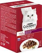 Gourmet Mon Petit Meat Selection - Месни филета в сос за котки в зряла възраст - опаковка от 6 пауча x 50 g - гребен