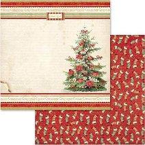 Хартия за скрапбукинг - Коледна елха - Размери 30.5 х 30.5 cm