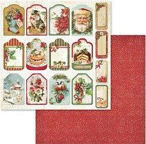 Хартия за скрапбукинг - Коледни етикети - Размери 30.5 х 30.5 cm