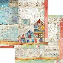 Хартия за скрапбукинг - Къщички - Размери 30.5 х 30.5 cm
