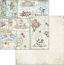 Хартия за скрапбукинг - Ангели, рози и надписи - Размери 30.5 х 30.5 cm