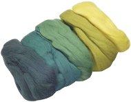 Вълна за филц - зелена - Комплект от 5 цвята