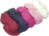 Вълна за филц - розова - Комплект от 5 цвята