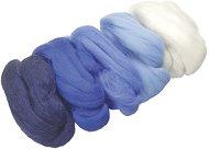 Вълна за филц - синя - Комплект от 5 цвята