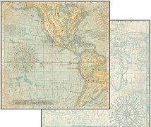 Хартия за скрапбукинг - Карта - Размери 30.5 х 30.5 cm