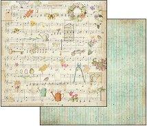 Хартия за скрапбукинг - Нотно поле - Размери 30.5 х 30.5 cm