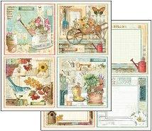 Хартия за скрапбукинг - Градински картички - Размери 30.5 х 30.5 cm