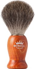 Четка за бръснене с естествен косъм от сив язовец - Nelson - С дървена дръжка -
