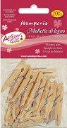 Дървени щипки за декорация - Асорти - Комплект от 20 броя