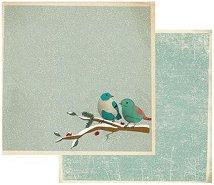 Хартия за скрапбукинг - Птици - Размери 30.5 х 30.5 cm