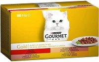 Gourmet Gold - Хапки в сос за котки в зряла възраст - опаковка от 4 консерви x 85 g -