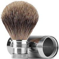 Четка за бръснене с естествен фин косъм от язовец - Metal Trip - Подходяща за пътуване -