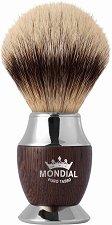 Четка за бръснене с естествен фин косъм от язовец - Wenge - С дръжка от дърво и метал -