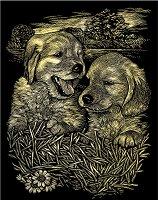 Кученца - Скреч картина с размери 20 x 25 cm