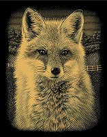 Лисица - Скреч картина с размери 20 x 25 cm