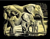 Слонове - Скреч картина с размери 20 x 25 cm