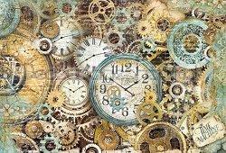 Декупажна хартия - Часовници и зъбни колела - Размери 50 x 35 cm