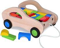 Дървена количка за дърпане - Комплект с конструктор - играчка