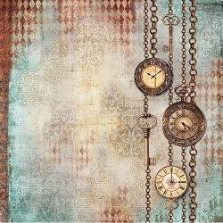 Декупажна хартия - Часовници и ключове - Размери 50 x 50 cm