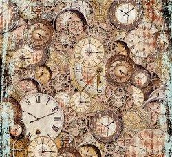 Декупажна хартия - Ретро часовници - Размери 50 x 50 cm