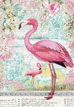 Декупажна хартия - Фламинго - Формат А4