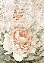 Декупажна хартия - Роза и пеперуда - Формат А4