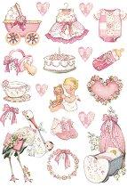 Декупажна хартия - Розови бебешки декорации - Формат А4