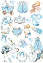 Декупажна хартия - Сини бебешки декорации - Формат А4